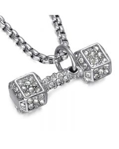 JAJAFOOK Dumbbells Diamond Necklace Sports Fitness Stainless Steel Necklace