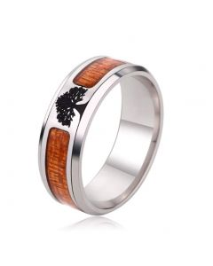 JAJAFOOK Black Flat Top Wedding Ring Living Tree Inlaid Mens Ring Comfortable Design 6-13
