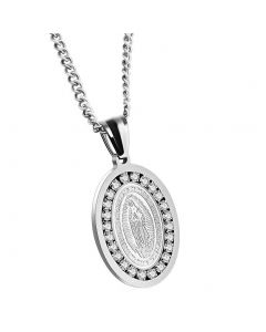 JAJAFOOK Oval Titanium Steel Religious Necklace Our Lady of Guadalupe Miraculous Medal Pendant