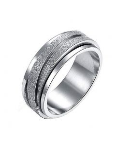 JAJAFOOK 8MM Unisex Stainless Steel Finger Spinner Gear Silver Brushed Matte Rings Wedding Rings Size 6-9