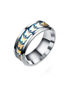 JAJAFOOK Women Men Fashion Simple Style Stainless Steel Butterfly Rings Jewelry Blue Size 6-13