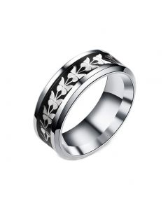 JAJAFOOK Women Men Fashion Simple Style Stainless Steel Butterfly Rings Jewelry Black Size 6-13