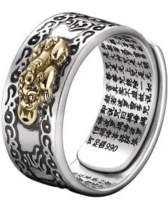JAJAFOOK FENG SHUI PIXIU MANI Amulet Lucky Wealth Buddhist Jewelry Adjustable S990 Sterling Silver Ring