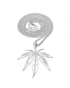 JAJAFOOK Men's Stainless Steel Necklaces Marijuana Weed Leaf Pendant Necklace with 23.6 Inch Chain - Silver