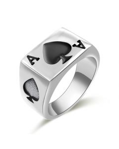 Mens Womens Stainless Steel Ring Poker Spade Ace Silver Black